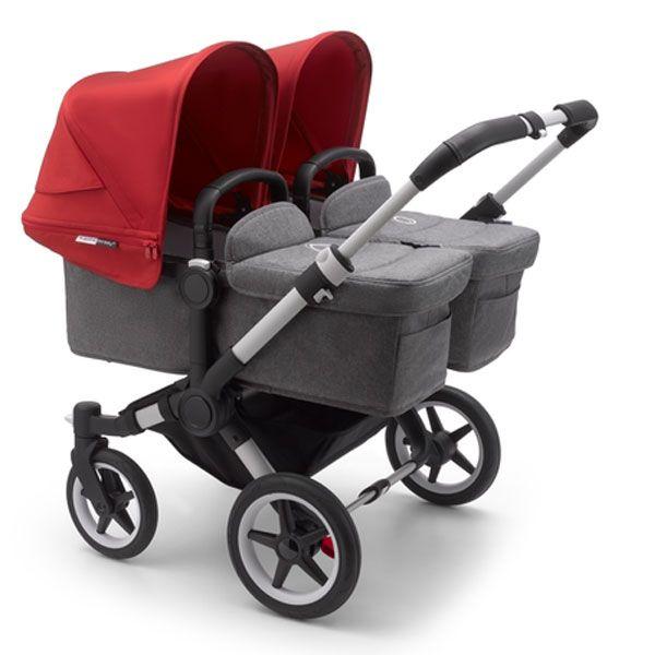 חדש! בוגבו דונקי 3 תאומים צבע עגלה: גגון: אדום, בד עריסה + בד מושב: אפור מלאנג', ידיות שחורות, מרכב: אלומיניום