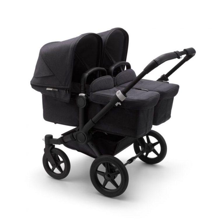 בוגבו דונקי 3 תאומים צבע עגלה: גגון: שחור וושד, בד עריסה + בד מושב: שחור וושד, ידיות שחורות, מרכב: שחור